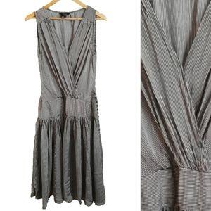 Zara Black and White Striped Midi Dress, size L